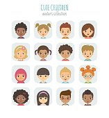 Vector illustration of different nationalities children's portraits, arranged in square shape.