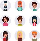 Avatars. Different human faces. Vector illustration. Simple design.