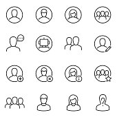 Avatars for user interface icons set. Collection silhouettes of men, women and groups of people for an app or a web site. Line with editable stroke
