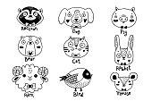 Avatars funny animal faces Raccoon Dog Pig Bear Ram Hare Rabbit Cat Bird Mouse Rat. Vector illustration.