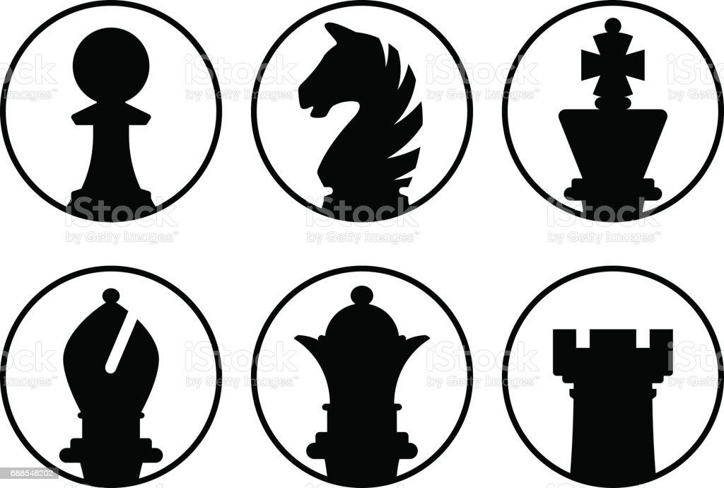 Avatars сhess pieces vector art illustration