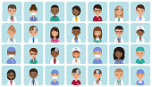 Flat people doctors, nurses and surgeons. Animated avatars. Faces medical characters. Set icons. Vector illustration.  Hospital staff. Medicine concept.