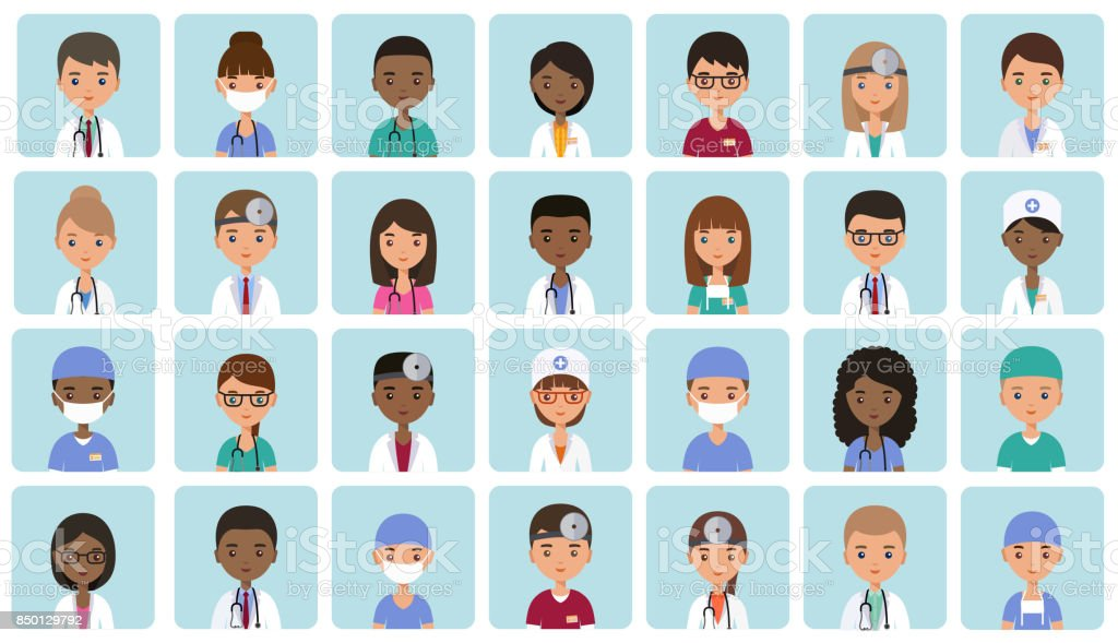 Avatars medical characters in flat design. Vector illustration. vector art illustration