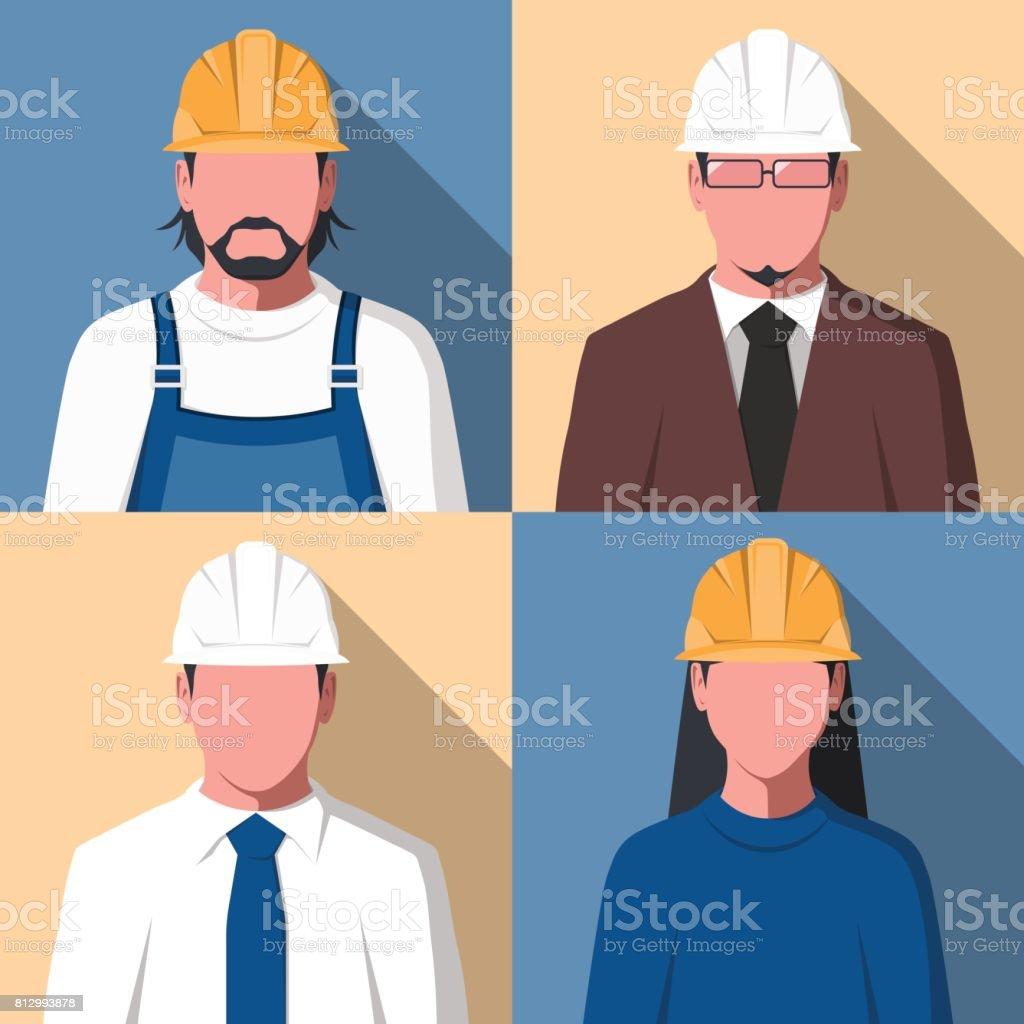 Avatars of construction worker vector art illustration