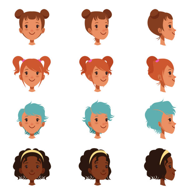 illustrazioni stock, clip art, cartoni animati e icone di tendenza di avatars of female faces with different haircuts and hairstyles. front and side view. isolated flat vector illustration - bambine africa