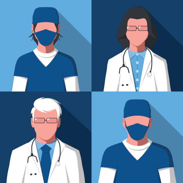 Avatars of male and female silhouettes of doctors and nurses Male and female silhouettes of medical workers for user profile picture. Avatars of men and women in health care. Hospital staff: doctors and nurses in flat style. Vector illustration. surgical cap stock illustrations