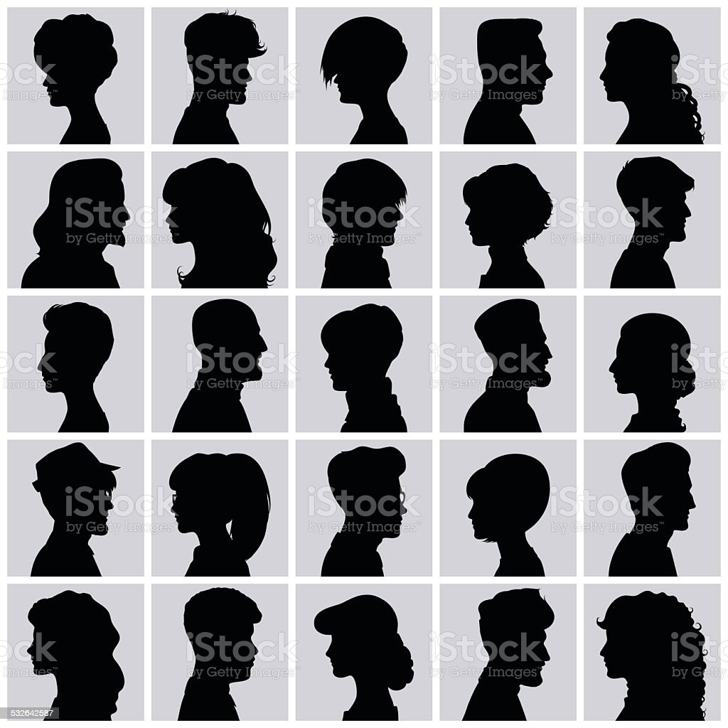 Avatars of silhouettes. Profiles with different hairstyles. vector art illustration