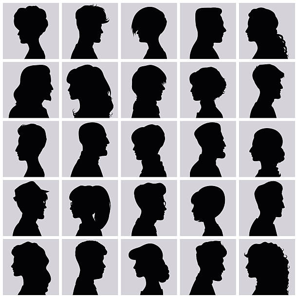 avatars of silhouettes. profiles with different hairstyles. - female faces stock illustrations, clip art, cartoons, & icons