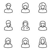 Avatars of women icon set. Line with editable stroke