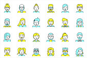 Set of avatars. Flat style. Line colorful icons collection of people for profile page, social network, social media, website and mobile website apps. different age, professional human occupation