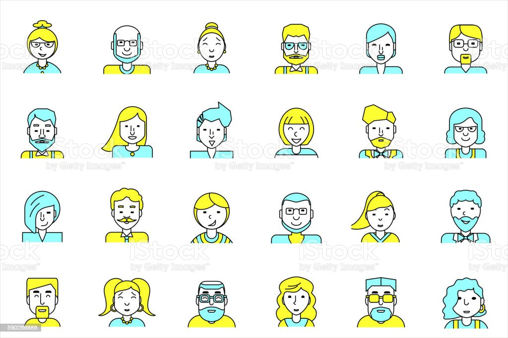 Avatars set. Flat style. Line people icons for profile page. vector art illustration