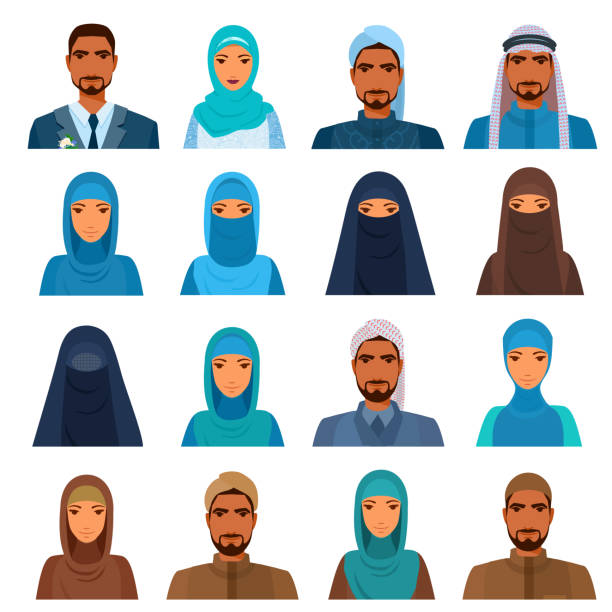 Avatars set of middle east people. Men and women heads with shoulders, faces. Arabic, Muslim, Islam. Traditional clothing, suits, formal outfits, costume. Headscarf, headwear, headdress variations. religious veil stock illustrations