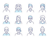 Simple set of avatars icons. Different ages people. Flat line vector illustration isolated on white background.