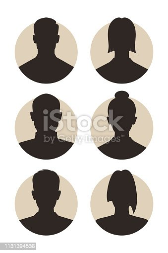 Set signs mens and womens avatar. Icons male and female silhouettes. Profiles abstract people. Unknown or anonymous person. Vector illustration
