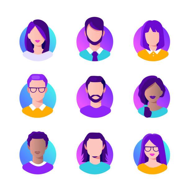 Avatars People avatars icons set. Flat vector illustration with modern gradient isolated on white background. man on computer stock illustrations