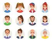 Males and females different ages avatars. Flat style vector illustration isolated on white  background.