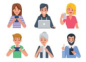 People avatars with different devices. Vector illustration.