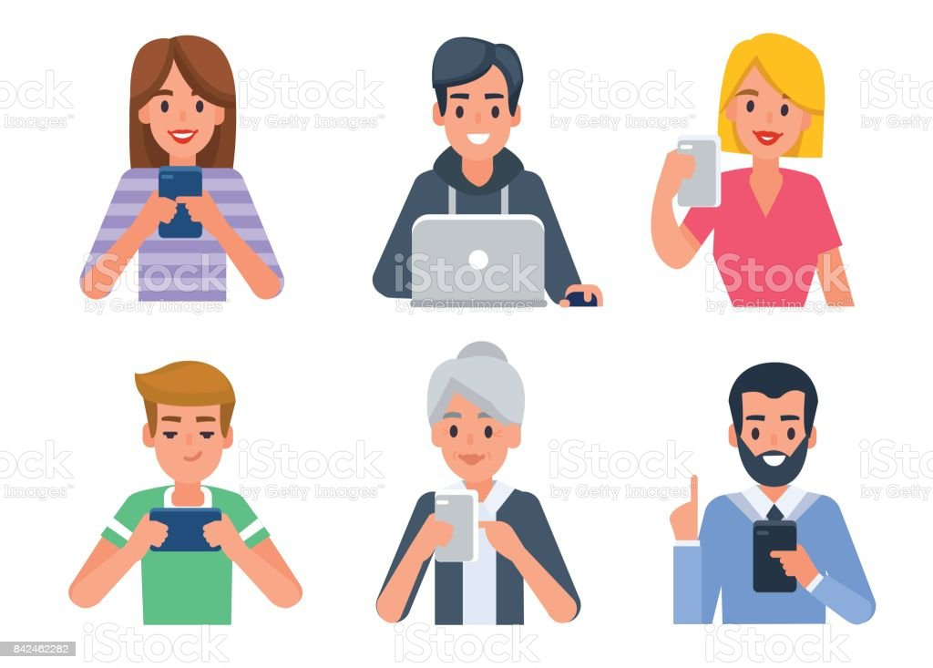 Avatars with gadgets vector art illustration