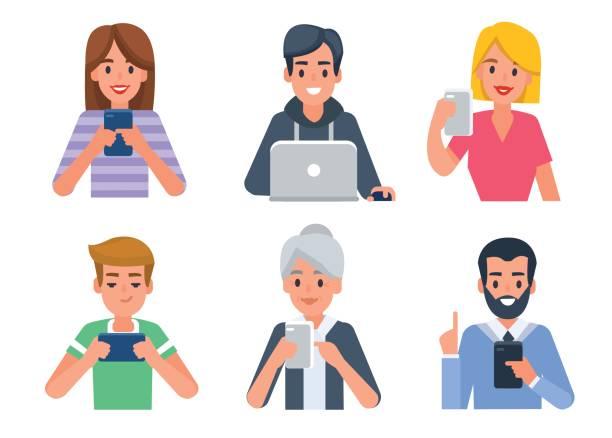 becerikli alet ile avatarları - telefon kullanımı stock illustrations