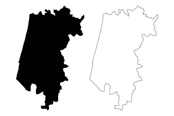 ilustrações de stock, clip art, desenhos animados e ícones de aveiro district (portuguese republic, portugal) map vector illustration, scribble sketch aveiro map - aveiro