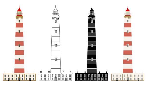 ilustrações de stock, clip art, desenhos animados e ícones de aveiro lighthouse in front view, portugal - aveiro