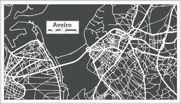 ilustrações de stock, clip art, desenhos animados e ícones de aveiro portugal city map in retro style. outline map. - aveiro