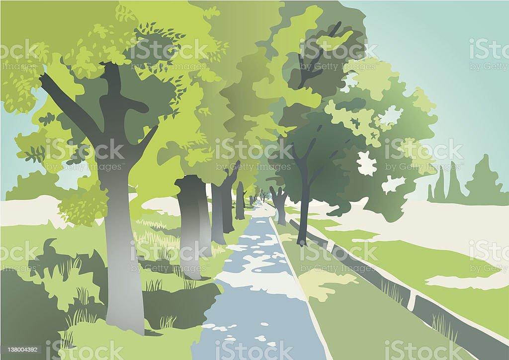 Avenue vector art illustration