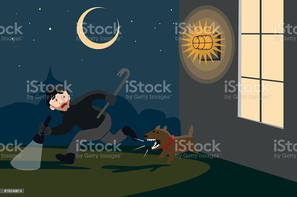 Averted burglary at night vector art illustration