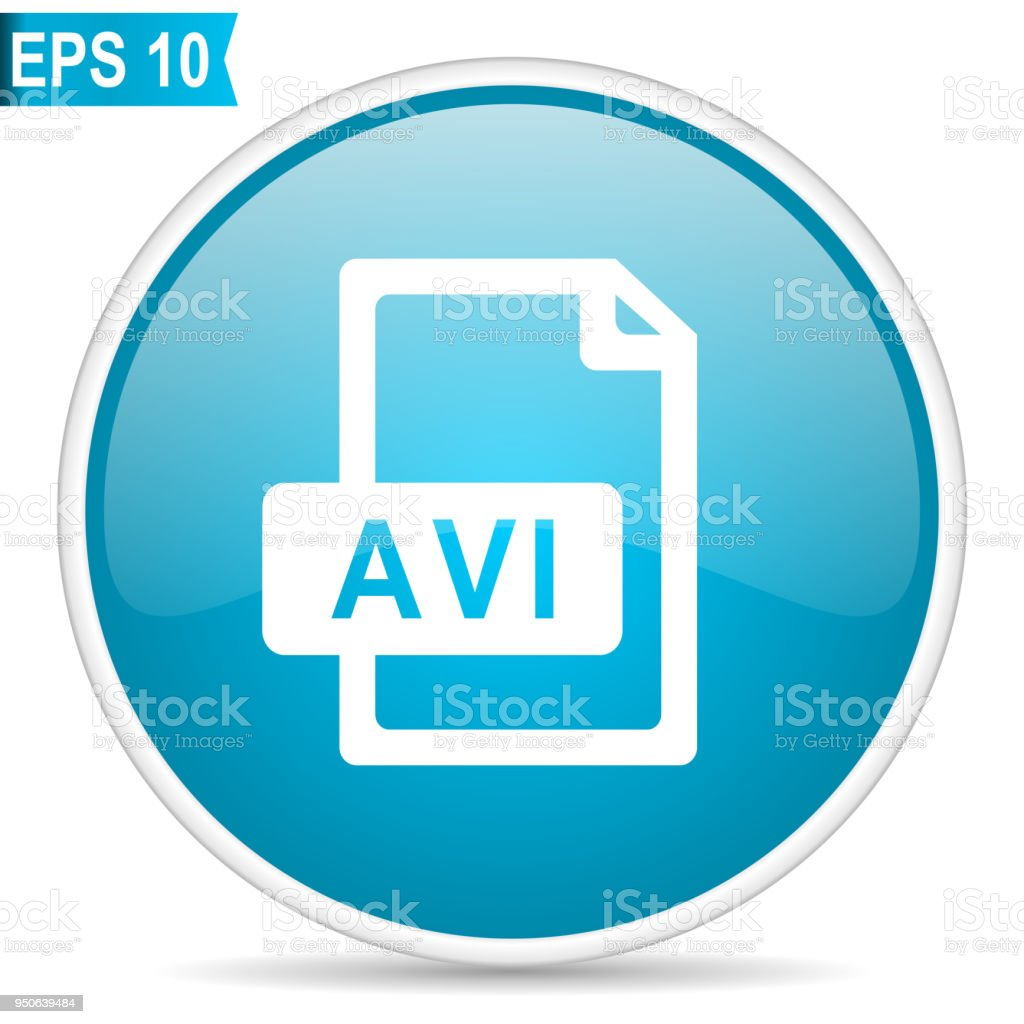 Avi file blue glossy round vector icon in eps 10. Editable modern design internet button on white background. vector art illustration