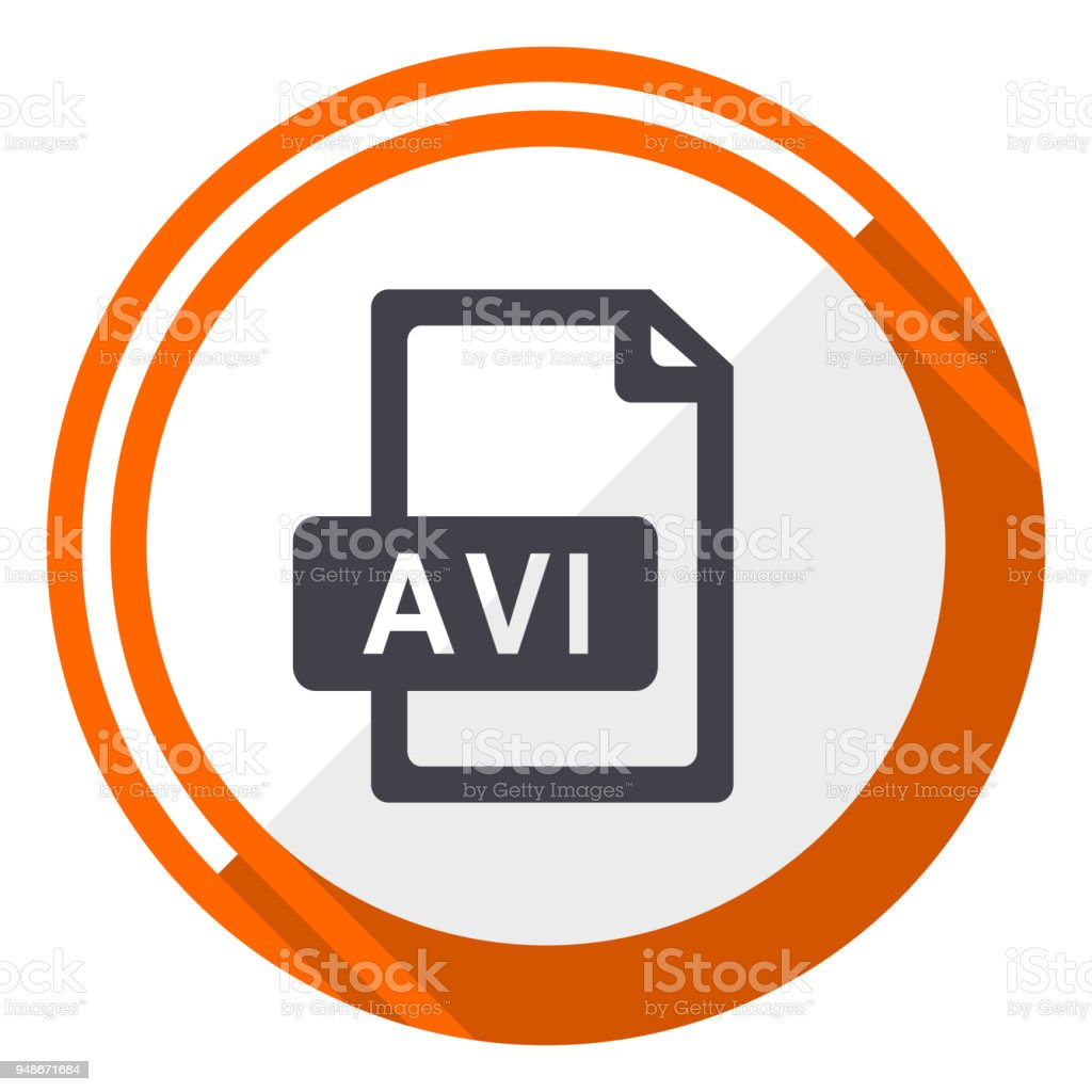 Avi file flat design orange round vector icon in eps 10 vector art illustration