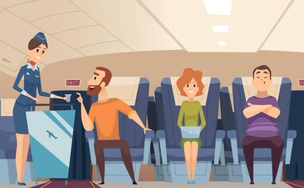 Avia passengers. Boarding stewardess offers food to sitting man in airplane board vector cartoon background Avia passengers. Boarding stewardess offers food to sitting man in airplane board vector cartoon background. Illustration of airplane stewardess, professional hostess transport passenger stock illustrations