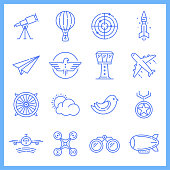 Modern aviation academy blueprint style concept outline symbols. Line vector icon sets for infographics and web designs.