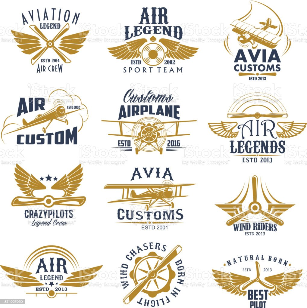 Aviation airplane legend team vector retro icons vector art illustration