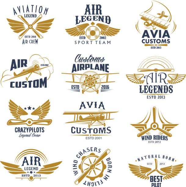 illustrations, cliparts, dessins animés et icônes de aviation avion légende équipe vecteur rétro icônes - transport aérien