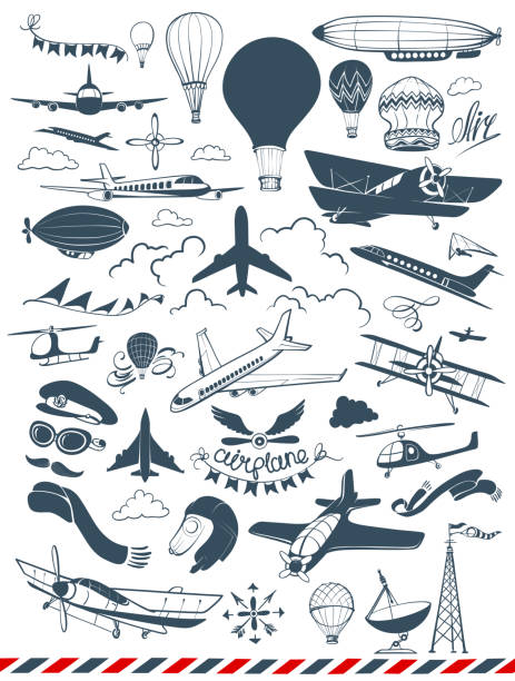 Aviation and Aircraft Vector Set Hand-drawn vintage illustrations of airplanes, airships, helicopters, balloons and air flight attributes. supersonic airplane stock illustrations