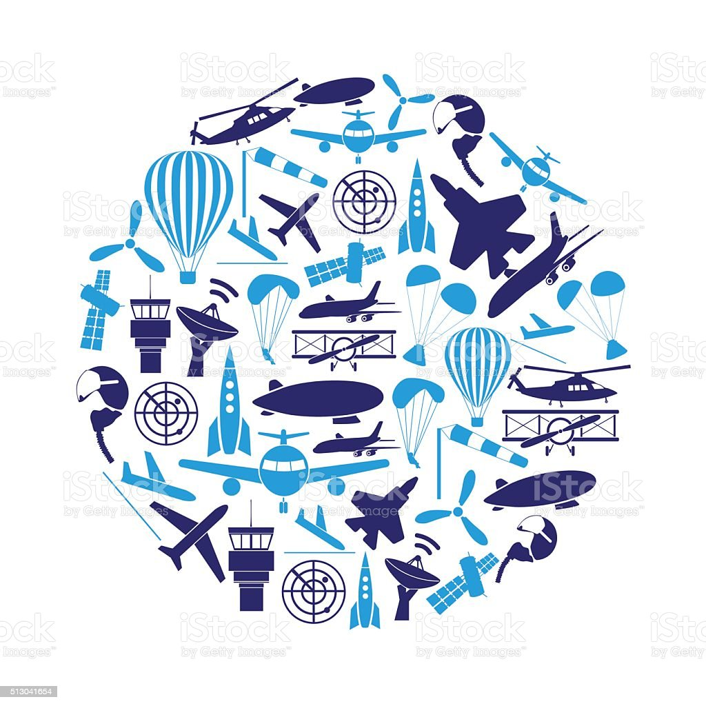 aviation big set of blue icons in circle eps10 vector art illustration