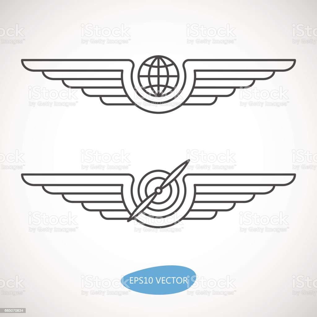 Aviation emblems, badges and logo patches vector art illustration