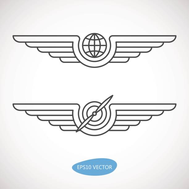 aviation emblems, badges and logo patches - animal wing stock illustrations