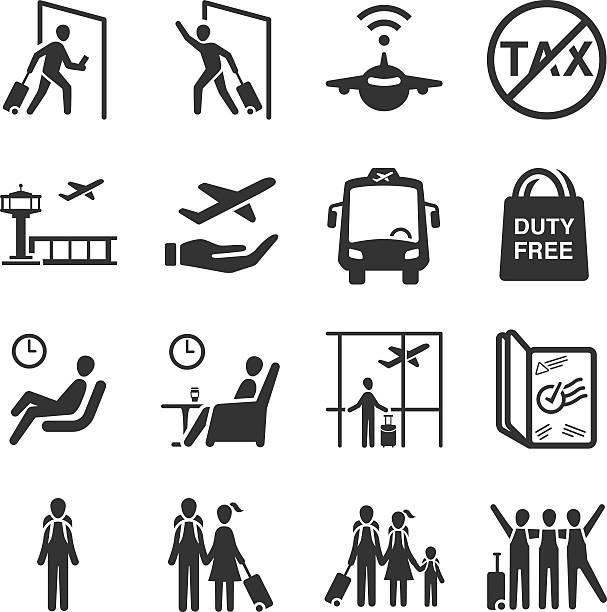 illustrations, cliparts, dessins animés et icônes de ensemble de quatre icônes de l'aviation - hall d'accueil