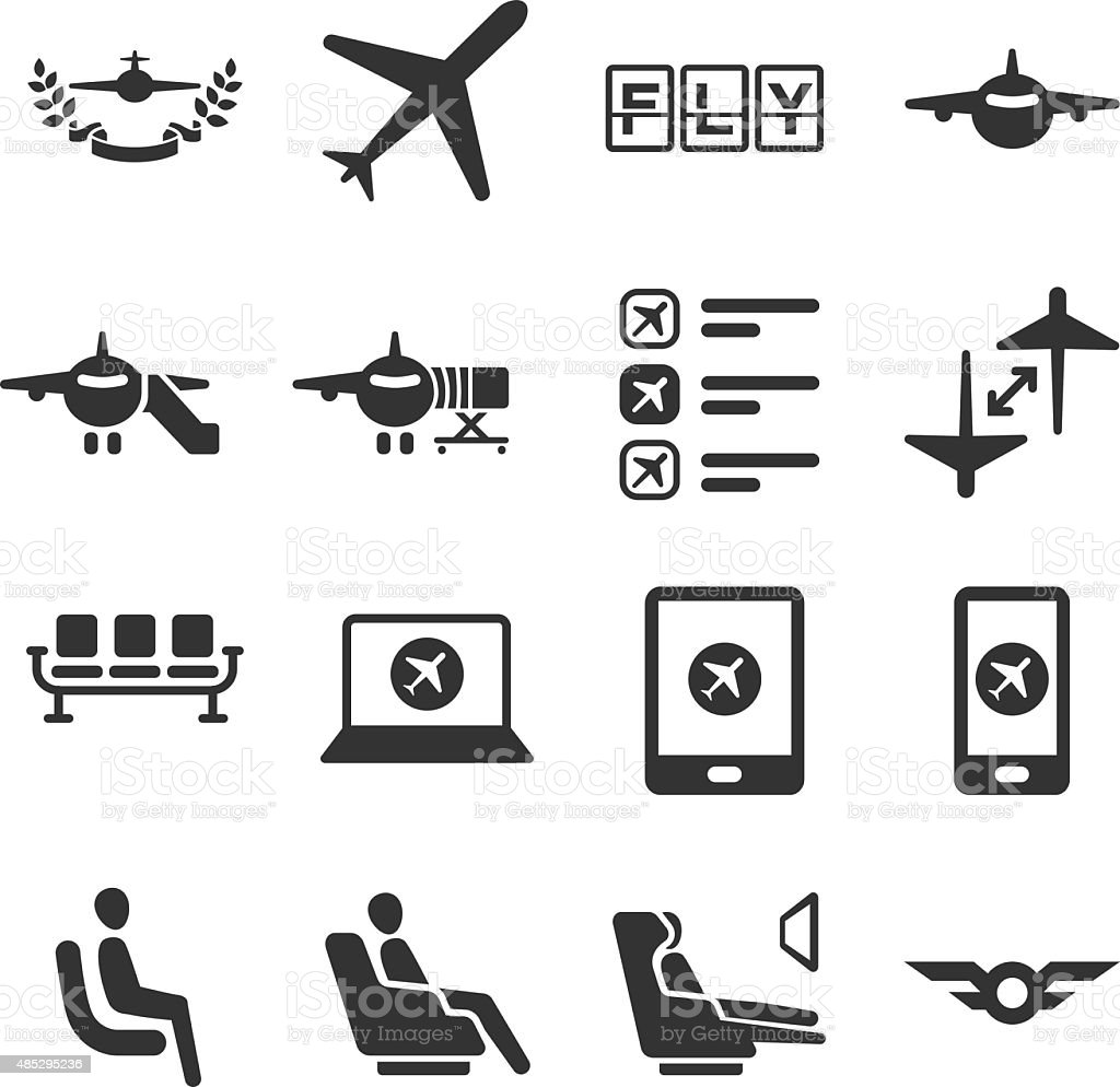 Aviation icons set 6 vector art illustration