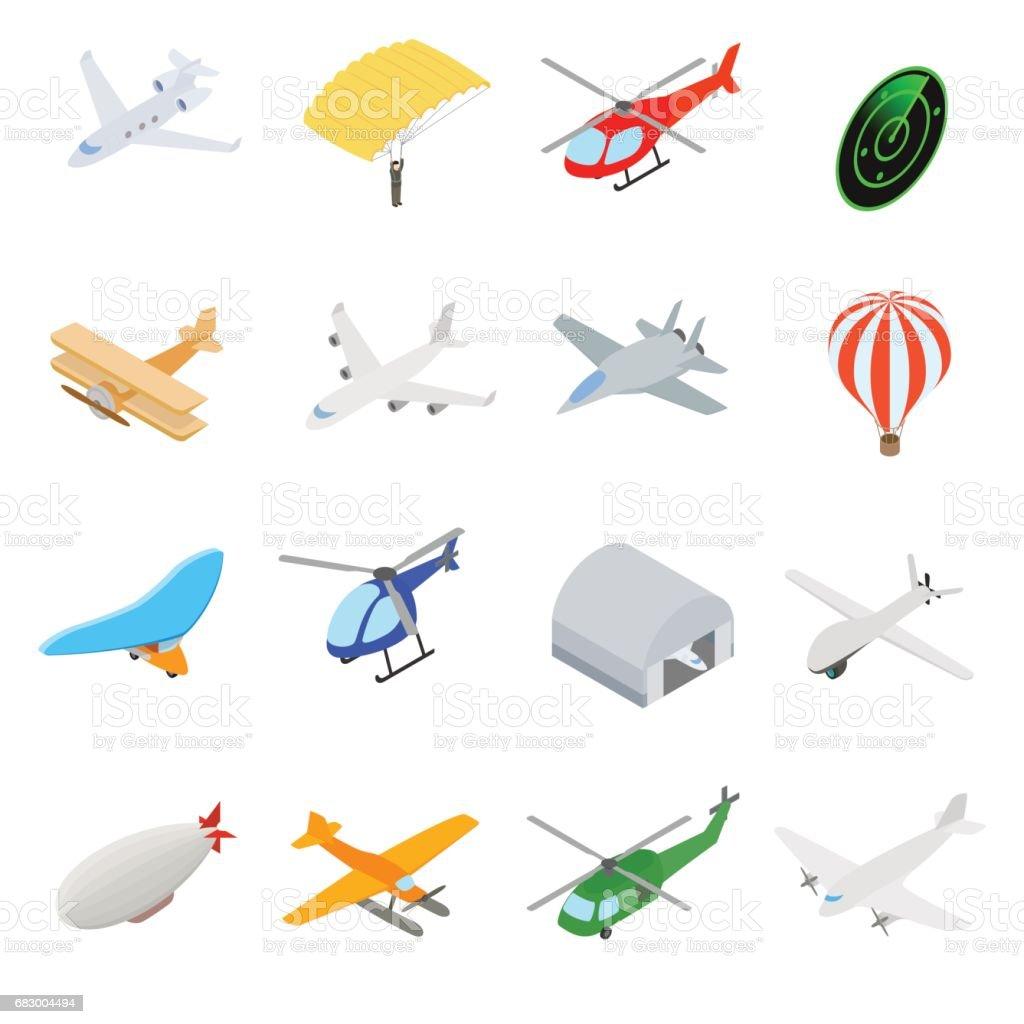 Aviation Icons Set vector art illustration