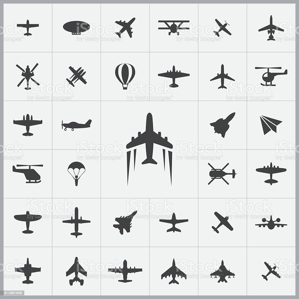 aviation icons universal set vector art illustration