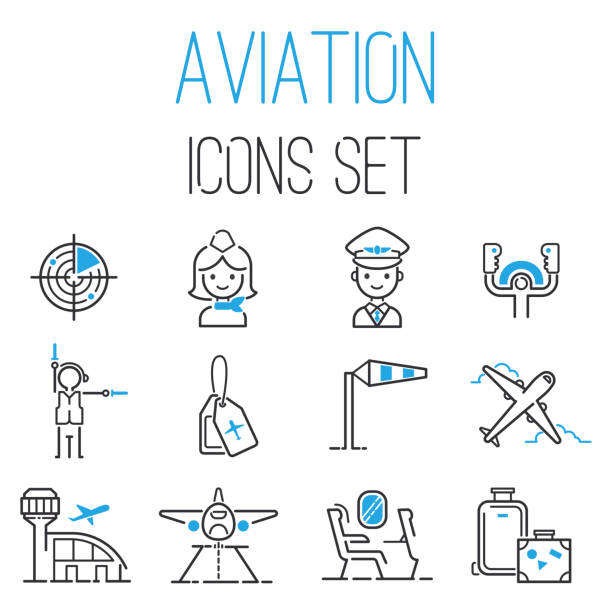 Aviation icons vector set airline outline graphic illustration flight airport transportation passenger design departure Aviation icons vector set airline outline graphic illustration flight airport transportation passenger design departure. Aviation icons departure cargo world luggage boarding aircraft. airport clipart stock illustrations