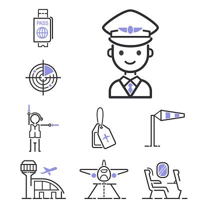 Aviation icons vector set airline outline graphic illustration flight airport transportation passenger design departure
