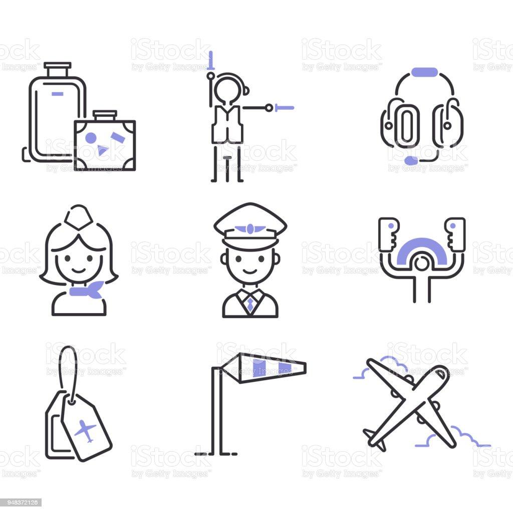 Aviation Icons Vector Set Airline Outline Graphic Illustration Flight Airport Transportation Passenger Design Departure Royalty