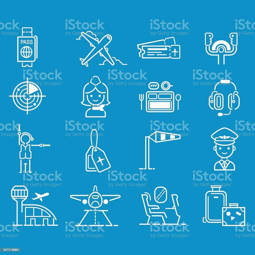 Aviation icons vector set. vector art illustration