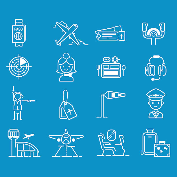 Aviation icons vector set. Aviation icons vector set airline graphic illustration. Vector flight airport transportation passenger aircraft design set. Departure air cargo world luggage boarding aircraft. aviation and environment summit stock illustrations