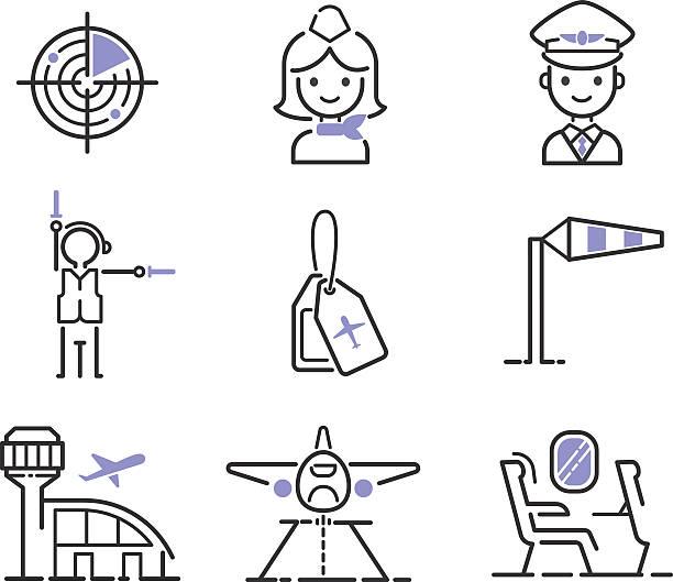 Aviation icons vector set. Aviation icons vector set line graphic illustration. Vector flight transportation passenger design. Departure cargo world luggage boarding aircraft. aviation and environment summit stock illustrations