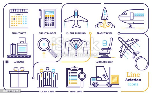 Line icon vector illustrations of aviation industry.