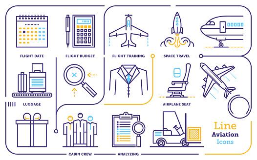 Aviation Line Icon Set